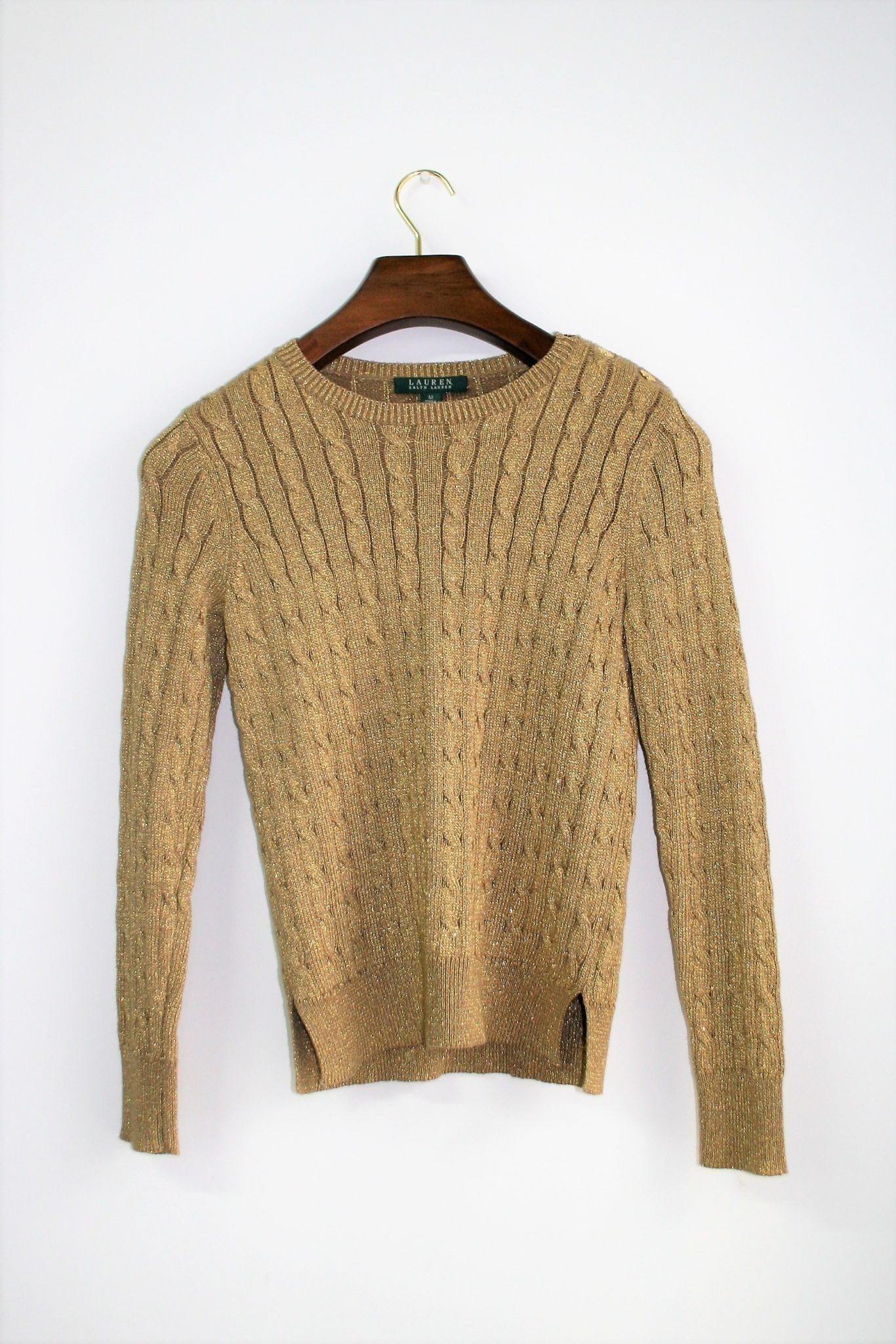 Ralph Lauren Gold Cable Knit Sweater – Trove Fashion 4520efc90